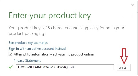 enter an office product key free