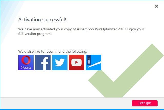 activate Ashampoo WinOptimizer 2019